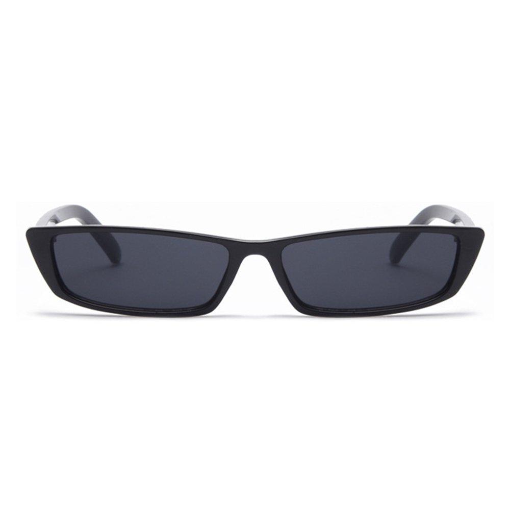 Gobiger Rectangle Small Frame Sunglasses Fashion Designer Square Shades for women (Black Frame, Black)