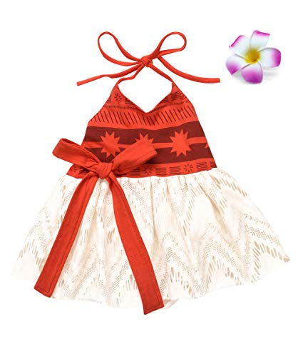 Jurebecia Moana Costume for Baby Girls First Birthday Party Toddler Kids Fancy Dress up Cosplay Orange Age 2-3 Years Size 3T -