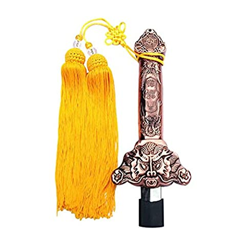 ZooBoo Chinese Tai Chi Sword - Extendable Retractable Telescopic Simplified Taiji Martial Art Kung Fu Shaolin Sabre Jian No-Edge for Beginner - with Silk Tassel and Bag (Copper with Yellow)