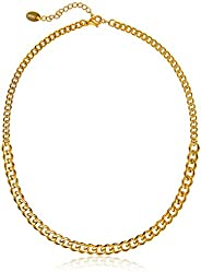 Streetwear Necklace | 14k Gold Chain Choker Necklace for Women | Dual Sized 14k Gold Dipped Curb Cuban Link Ch