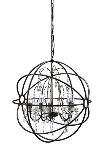 Creative Co-op Crystal Chandelier Encased in a Metal Orb Frame