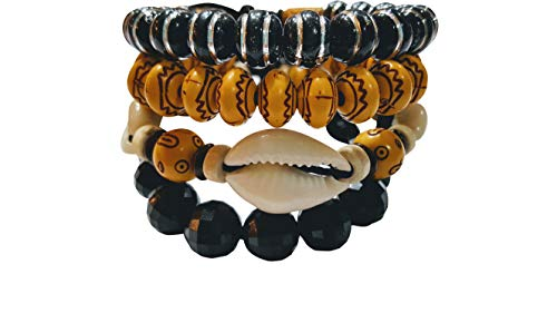 NOVARENA 2-24 Pcs Bracelets and Necklaces for Men Women Beaded Bracelets Multi Layer Stackable Ethnic Tribal African Traditional (4 Pcs Bracelets Set - Style B)