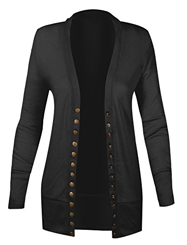 Black Gold Cardigan (HOT FROM HOLLYWOOD Women's Long Sleeve Ribbed Snap Gold Button up Cardigan Sweater)