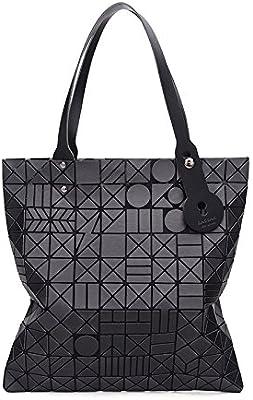 2018 Mujer Mode Splitter Rhombus Diseño Holograma geométrico bolso cartera Tote negro Talla:35*35*1CM