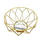 VNEIRW 3D Geometric Candlestick Nordic Style Iron Tea Light Candle Holder Mirror Tray Plate for Wedding Holidays Events Party Desktop Decorations (A)
