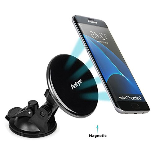 Antye Magnetic Qi Wireless Car Charger Mount Dashboard Suction Cup Holder for Samsung Galaxy S7 Edge/S7/S6 Edge Plug/S6 Edge/S6, Note 5/Nokia/Nexus 4/5/6 and All Qi-enabled Devices, Jet Black