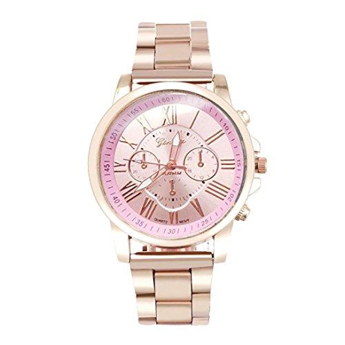 Qisc Wristwatch, Unisex Roman Number Stainless Steel Quartz Sports Dial Watch Clock - Roman Dial Marks