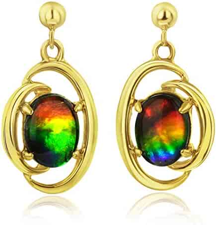 Korite Rosalind 14k Yellow Gold Ammolite Earrings