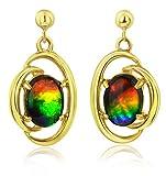 Korite Rosalind 14k Yellow Gold Ammolite Earrings