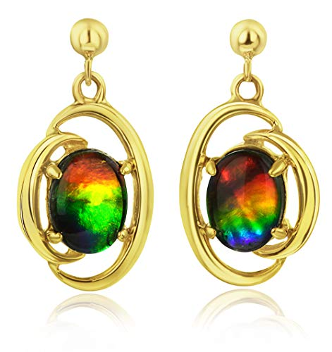 Korite Rosalind 14k Yellow Gold Ammolite Earrings ()