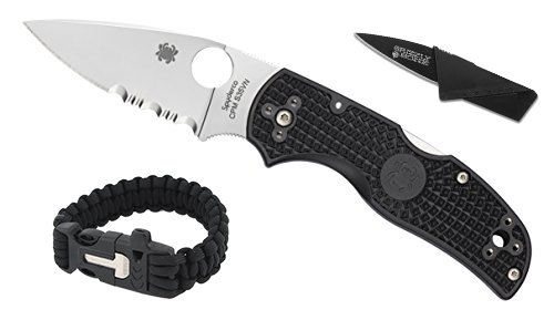 - New Combo Pack Spyderco Native 5 ComboEdge Blade Self Defense Weapon & Ultimate Survival Tool for Zombie Apocalypse Survival Kit w/ Free 550 Paracord Bracelet & Credit Card Knife Survival Life
