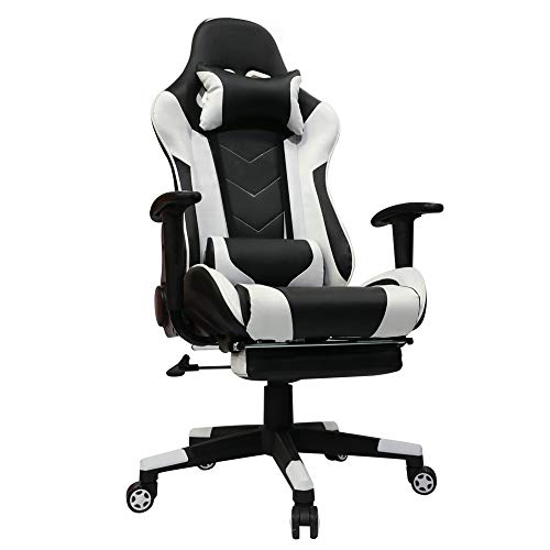 Kinsal Gaming Chair with Footrest Racing Style High-Back PU Leather Office Chair Computer Desk Chair Executive and Ergonomic Style Swivel Chair with Headrest and Massage Lumbar Support (White) Kinsal