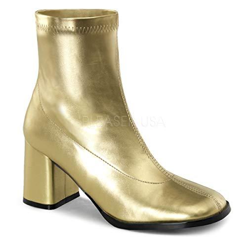 Funtasma Women's Gogo150/gpu Boot, Gold Stripe Polyurethane, 10 M US