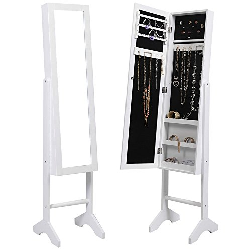Mirrored Jewelry Cabinet Capacity Armoire Mirror Storage Organizer Box Ring Stand White