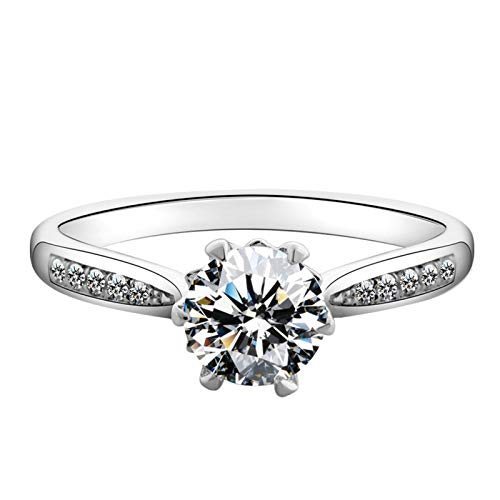 AMDXD Jewelry 925 Sterling Silver Ring Band Six Claw Created Diamond Anniversary Rings Size 10