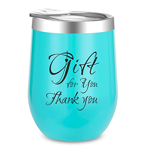 Birthday Gifts for Women | Thank You Wine Tumbler | 12 oz Insulated Wine Tumbler with Lid, Double Wall Vacuum Stainless Steel Stemless Wine Glass Tumbler Coffee Mug, for Cocktail, Beer Champagne -