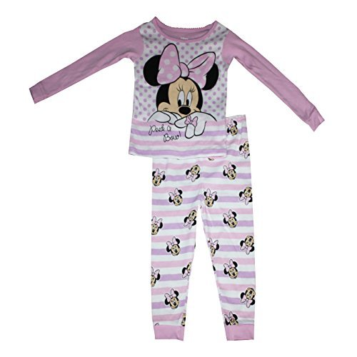 Disney Minnie Mouse Cotton Tight Fit Pajama Sleepwear Baby Girls' 18 Months - Kid 2 Piece Pjs