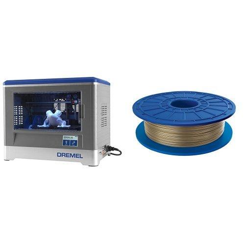 Dremel Idea Builder 3D Printer and  PLA 3D Printer Filament, 1.75 mm Diameter, 0.5 kg Spool Weight, Gold bundle