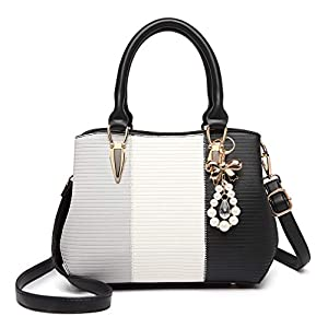 Miss Lulu Women Designer Top Handle Bag Fashion Colour Block Shoulder Bag with Pearl and Crystal Style Drop