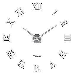 SOLEDI 3D DIY Wall Clock, Roman Numerals Clock Frameless Mirror Surface Wall Sticker Home Décor for Living Room Bedroom, Silver