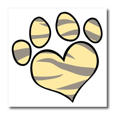 3dRose ht_122564_2 Cute Paw Printin Yellow Tiger Iron on Heat Transfer, 6 by 6-Inch, for White Material ()