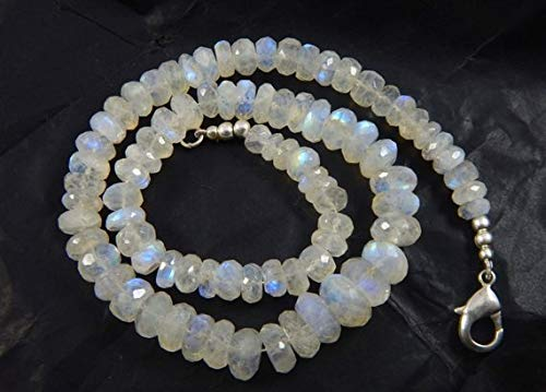 Moonstone Faceted Roundel - Gems World Beautiful Jewelry Blue Fire- Rainbow Moonstone Faceted Roundel Beads 6-8 mm Approx 17 inches Strand Code-COM-2386