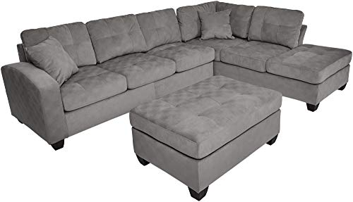 Homelegance Emilio Fabric Sectional Sofa and Ottoman Set, Taupe ()