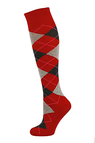 Mysocks Unisex Knee High Long Socks Argyle Ash and Anthracite on Red