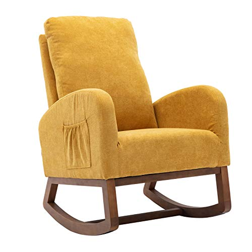 Dolonm Rocking Chair Mid-Century Modern Nursery Rocking Armchair Upholstered Tall Back Accent Glider Rocker for Living Room (Yellow)