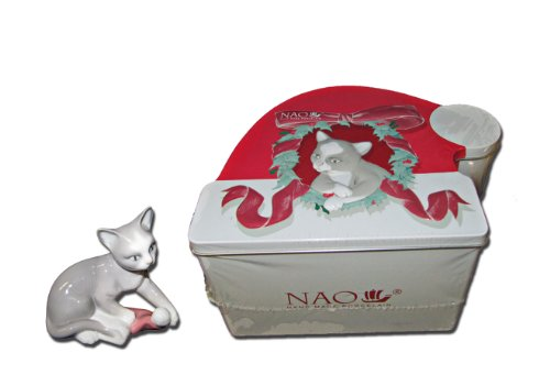 Lladro Gifts - Nao by Lladro #7428, Kitty's Christmas with Gift Box