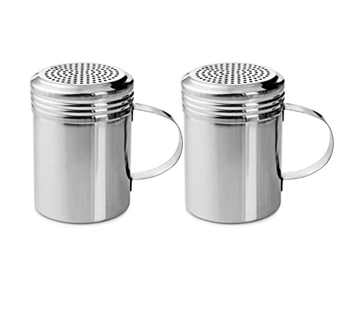 New Star Foodservice 28485 Stainless Steel Dredge Shaker with Handle, 10-Ounce, Set of 2 (Latte And Salt Pepper Shakers)