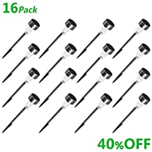 SOLARGO Solar Lights Outdoor, Solar Garden Lights 16Pack Stainless Steel LED Solar Pathway Lights, Outdoor Landscape Lighting for Lawn/Patio/Yard/Walkway/Driveway