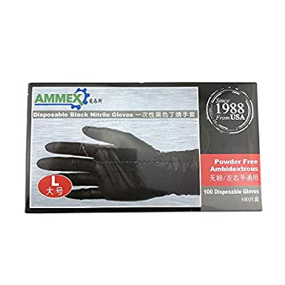 Disposable Black Nitrile Gloves 100Pcs per Box Powder Free Medical Exam Tattoo Piercing Gloves