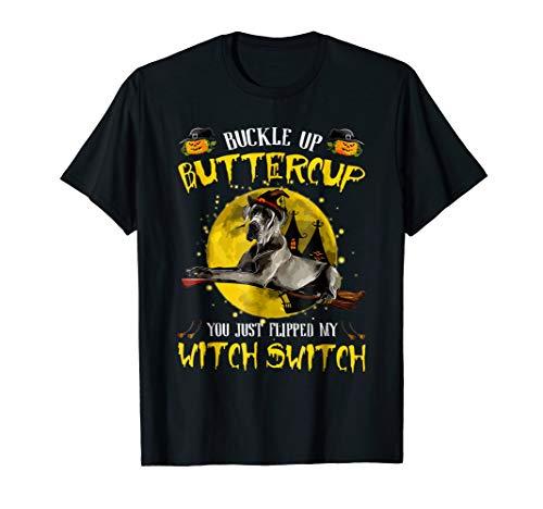 Great Dane Dog Buckle Up Buttercup Halloween Costume T-shirt
