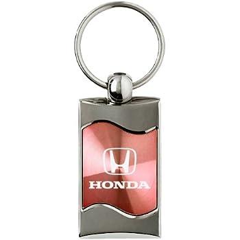 Premium Chrome Spun Wave Green Honda H Genuine Logo Key Chain Fob Ring
