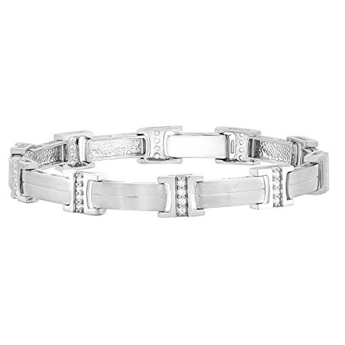 Carats For You 14k White Gold 0.75ct Brilliant Round Cut Genuine Real Natural Diamond Link Bracelet for Men