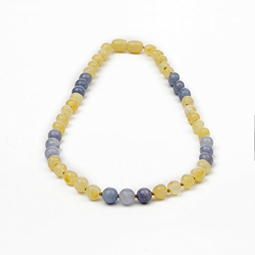 The Art of Cure Premium Certified Baltic Amber & Semi-Precious Aquamarine Teething Necklace, 4 color choices- 12.5 inches (aquamarine)