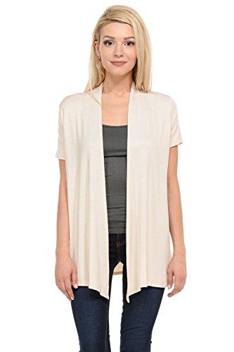 (Pastel by Vivienne Women's Short Sleeve Open Front Vest XX-Large Cream)