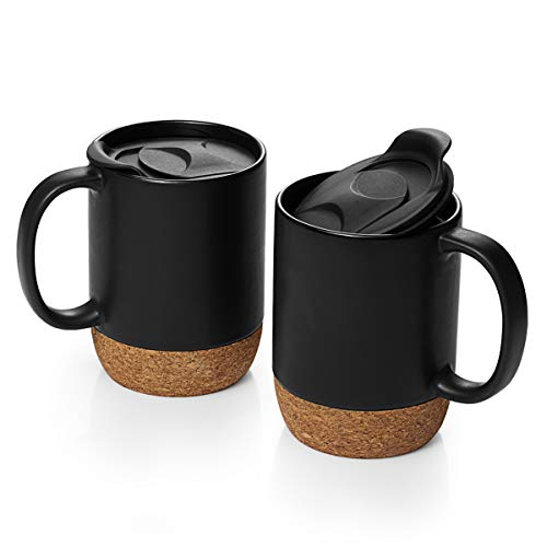 DOWAN Coffee Mugs Set of 2, 15 OZ Ceramic Mug with Insulated Cork Bottom and Splash Proof Lid, Large Coffee Mug with Handle for Men, Women, Matte Black