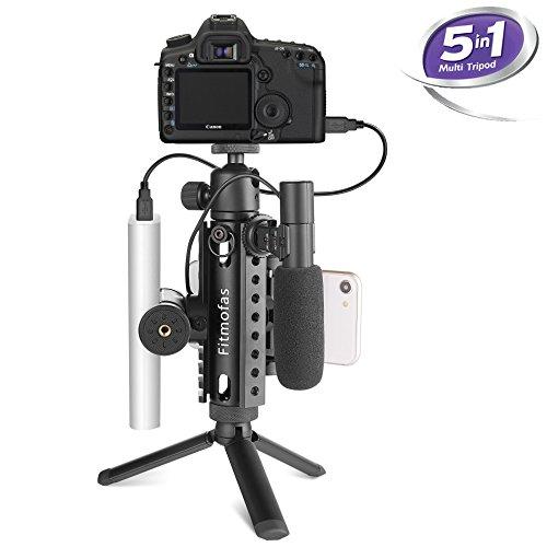Mini Camera Tripod Kit-Fitmofas Portable Travel Tripod-Tabletop Camera Tripod with Smartphone Holder Mount-Aluminum Picatinny Tri-Rail Tripod for Canon Nikon Sony DSLR Camera & Smartphone(Black)
