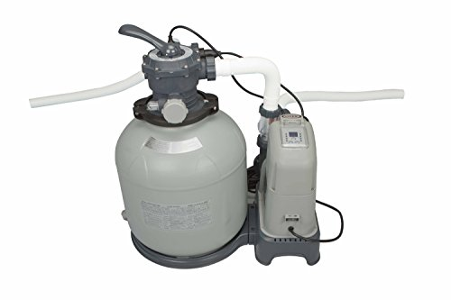 Pumps Filters Sand (Intex Krystal Clear 2150 GPH Sand Filter Pump & Saltwater System with E.C.O. (Electrocatalytic Oxidation) for Above Ground Pools, 110-120V with GFCI)