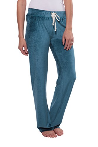 TexereSilk Women's Velour Lounge Pants - Stylish Sweatpants For Her by Texere (Realeza, Blue Lagoon, Large) Top Christmas Gift Ideas For Her TX-WB030-001-BULG-R-L