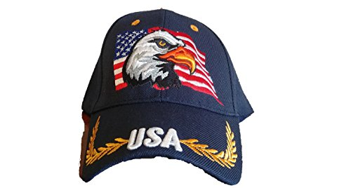 Mavian Hats Patriotic American Eagle and American Flag Baseball Cap USA 3D Embroidery (Navy Blue) (Eagle Flag Embroidery)
