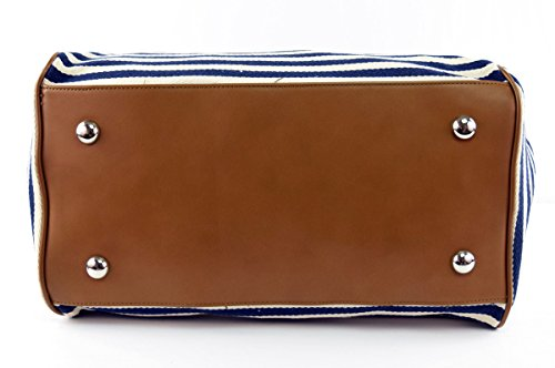 Classic Nautical Stripe 17'' Framed Duffel Bag Carry On Shoulder Tote Handbag by Tara's Travelers (Image #4)