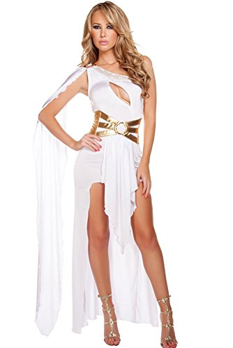 Roma Costume Women's 2 Piece Grecian Babe, White/Gold Small/Medium ()