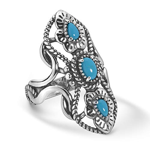 American West Sterling Silver Sleeping Beauty Turquoise Gemstone Elongated 3-Stone Ring Size 7