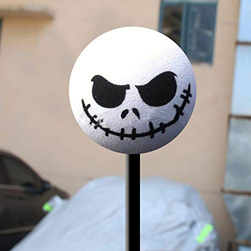 MMTH 1x Funny Halloween Skull Car Antenna Topper Aerial Ball Decoration Toy - Ball Antenna White