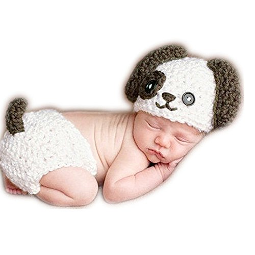 Baby Newborn Photography Props Cute Dog Handmade Crochet Knitted Unisex Baby Cap Outfit
