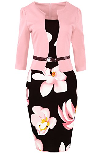 ROSE IN THE BOX Womens Suits for Work 3/4 Sleeve Office Plus Size Church ()