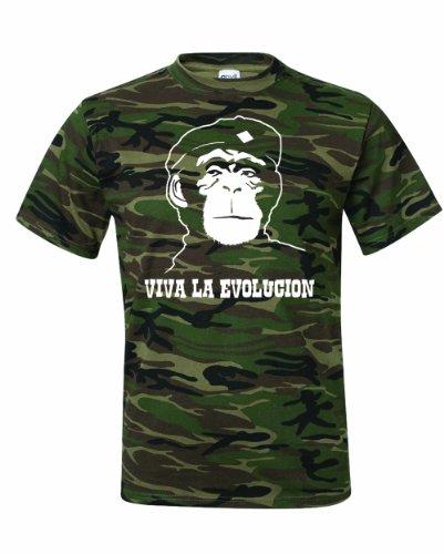 Camo Evolution (Men's Viva La Evolucion evolution T-Shirt-Camo Green-XL)